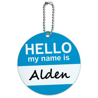 Alden Hello My Name Is Round ID Card Luggage Tag