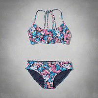 strappy ruffle two-piece swimsuit