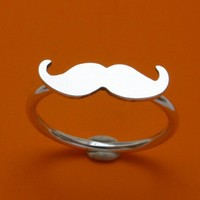 Moustache ring by littlebirdlove on Etsy