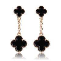 Beady Cleef Double Clover - Gold & Black