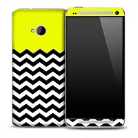 Yellow White and Black 2 Toned Chevron Pattern Skin for the HTC One Phone