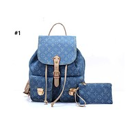 Samplefine2 Louis vuitton fashionable casual lady backpacks are hot sellers of denim printed backpacks #1