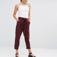 New Look Tie Waist Tapered Trousers at asos.com