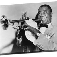 Louie Armstrong Poster Canvas Gallery Wrapped ready for framing 24 x 36
