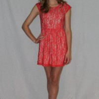 Coral Scallop Lace Overlay Dress - Always a Runway Clothing