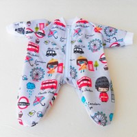 """BOY DOLL CLOTHES, Bitty Baby Doll Clothes Adorable Pajamas 15"""" London Eye flannel Blue Pajamas"""