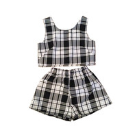 Black and White Tartan Plaid Shorts Two Piece Co-ord