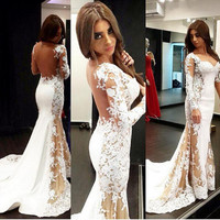 Long Sleeves Mermaid Prom Dresses 2017 Custom Appliqued Tulle Sexy Backless Formal Evening Gowns Vestidos Fiesta Mujer