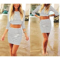 Fashion  two pieces black white stripe short sleeves dress