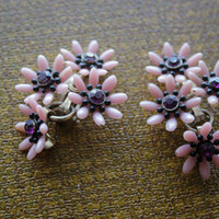 Vintage Pink Floral ClipOn Earrings by ThrifTay on Etsy