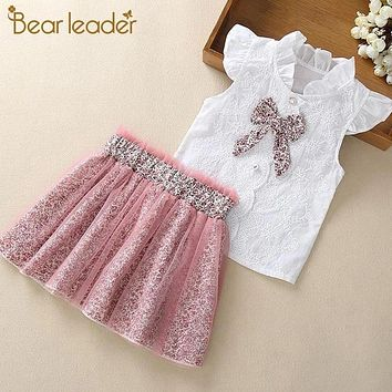 Girls Clothing Sets New Summer Sleeveless T-shirt+Print Bow Skirt 2Pcs for Kids Clothing Sets Baby Clothes Outfits
