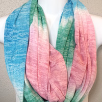 Pastel Color Blocked Knit Infinity Scarf Ombre Striped Summer Scarf Womens Fashion Patterned Circle Scarf Colorful Soft Infinity Scarf