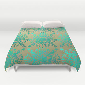 Elegance-Turquoise Teal Duvet Cover by Lisa Argyropoulos