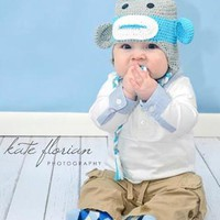 Grey And Blue Monkey Knit Baby Hat - CCN23