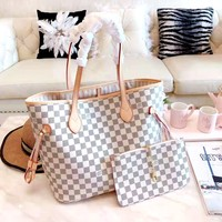 LV Tide brand classic chessboard female shopping bag handbags mother bag two-piece