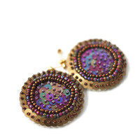 Beaded Disc Earrings - Gold Burgundy Brown Sequins - hand embroidered felt