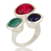 Emerald, Ruby And Sapphire Gemstone 925 Sterling Silver Ring