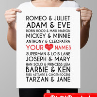 Famous Couples Print wall art custom names, wedding anniversary printable decor typography, subway art - Offline Printables