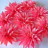Set of 8 Pink Paper Flowers, Stem Dahlias, Pink Paper Dahlias, Pink Wedding Deco, Pink First Birthday, Centerpiece, Candy Buffets Bar Decor
