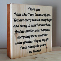 7x7 Quote Block: Wedding Quote, Solid Wood, Vows, Anniversary Gift, Home Decor, Wedding Song, Lyric, Shower Gift, Husband and Wife, Quote
