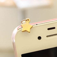 Antique Style iphone4 / 4s / ipad / HTC cell phone ear plug, 3.5 mm audio interface - little shinning star