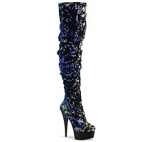 """Delight 3004 Thigh High Sequin Slouch Boots 6"""" Platform Heels Blue Multi"""