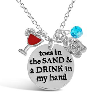 Toes In The Sand And Drink In My Hand Necklace