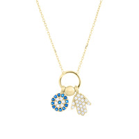 Hamsa and Evil Eye Loop Necklace