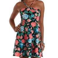 Blue Combo Strappy Floral Print Skater Dress by Charlotte Russe