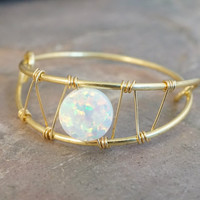 White Opal Ring Wire Wrapped Silver or Gold - Made in Your Size