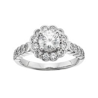 Diamonore Simulated Diamond Flower Engagment Ring in Sterling Silver (1 3/4 Carat T.W.) (White)