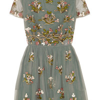 Valentino - Embroidered tulle mini dress