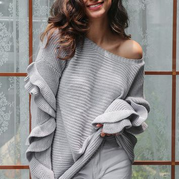 Ruffles flare sleeve knitted pullover