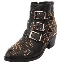 Pointed Stud Buckle Strap Ankle Boots