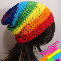 Slouchy Beanie Crochet Hat in Chakra Rainbow by StarrCrunch