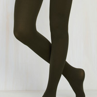 Accent Your Ensemble Tights in Olive   Mod Retro Vintage Tights   ModCloth.com