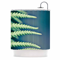 """Ann Barnes """"Into the Forest"""" Blue Green Shower Curtain"""