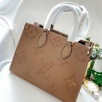 Inseva Louis Vuitton LV Fashionable solid color embossed letters ladies handbag shoulder bag