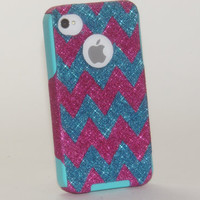 iPhone 4 Case  iPhone 4 Otterbox Cover  Custom Chevron by 1WinR