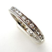 Sterling Silver Stacking Ring CZ Size 5 Cubic Zirconia 925 Clear Wedding Band