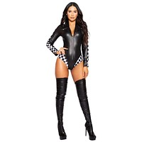 Sexy Grid Girl Long Sleeved Checker Romper Costume