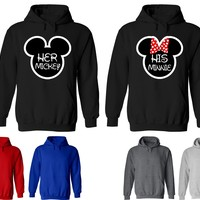 Her Mickey His Minnie Couple Matching Love Set Solid Color Hoodie