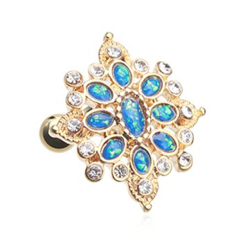Golden Opal Roesia Ornate Cartilage Tragus Earring 18ga Surgical Steel