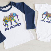 Big Brother Little Brother Shirt Set. Tribal Ethnic Big Brother Little Brother Matching Outfit. Big Brother Gift. New Baby Brother.