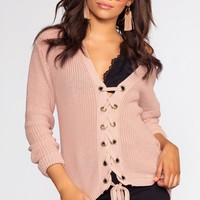 Lyla Lace Up Sweater - Light Mauve