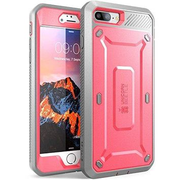 SUPCASE iPhone 7 Plus Case, iPhone 8 Plus Case, Unicorn Beetle PRO Series Full-body Rugged Holster Case with Built-in Screen Protector for Apple iPhone 7 Plus 2016 / iPhone 8 Plus 2017 (Pink/Gray)