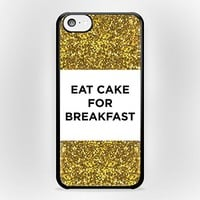 Eat Cake For Breakfast for iPhone Case (iPhone 4/4s Black Rubber)