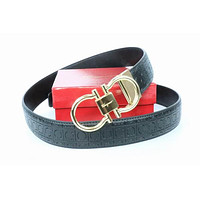 Salvatore Ferragamo Belt Fashion Contracted Smooth Gancio Buckle Belt Leather Belt204