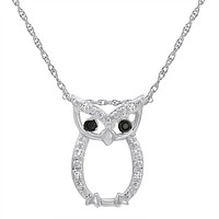 Sterling Silver Owl Pendant-Necklace with Black and White Diamond