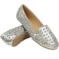 Womens Studded Spiked Loafers Silver